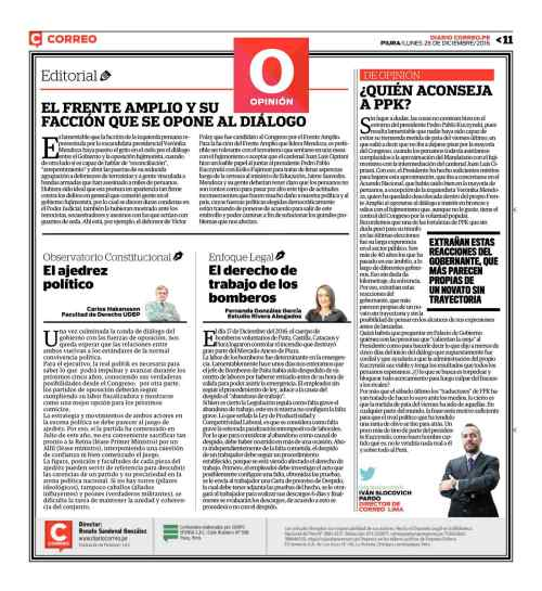 Diario Correo (Piura), 26 de Diciembre de 2016.